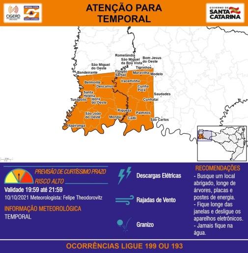 Defesa Civil alerta para possibilidade de temporais na região nas próximas horas